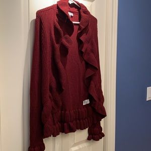 NWOT Burgundy Cardigan with Frills - size L
